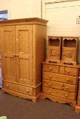 Pine double door wardrobe, five drawer chest and pair pedestals (4).