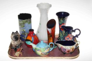 Poole, Belleek, Beswick and Anita Harris vases, Old Tupton Ware vase, two jugs and teapot,