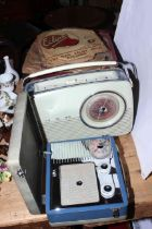 Pye and Bush radios, Sylvaphone gramophone with singles and records.