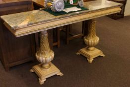 Rectangular marble topped twin pedestal console table, 76cm high by 150cm wide by 37cm deep.