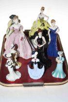 Eight Coalport figurines, Going Gala, The Fairytale Begins, Hilary, Stunning in Black, Lady Eliza,