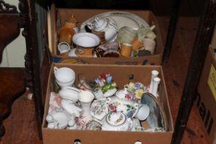 Nine boxes of assorted china, figure teapots, tableware, Studio Pottery, etc.