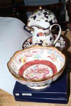 Two Royal Crown Derby Christmas plates in boxes, Masons Year of the Dragon bowl, limited edition no.