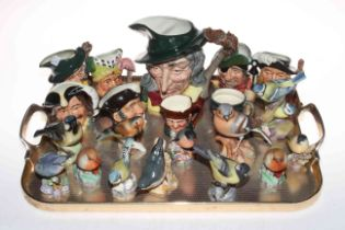 Collection of nine Royal Doulton character jugs including Pied Piper and Ugly Duchess,