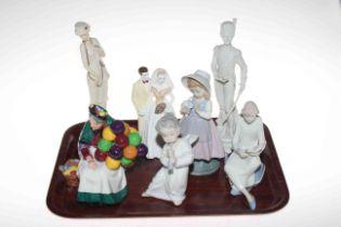 Royal Doulton Old Balloon Seller, Wedgwood Wedding Day, Lladro, Nao, Capo di Monte figures (7).