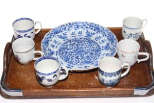 Chinese 19th Century blue and white bowl with four character mark to base and six various Chinese