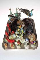 Collection of ornamental birds including Royal Adderley, Raybur, three metalwork bird sculptures,