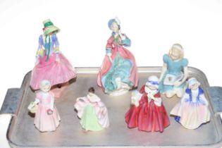 Seven Royal Doulton figurines, Pantalettes, Spring Morning, Alice, Lavinia, Dinky Do,