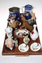 Wedgwood blue Jasperware biscuit barrel, Maling jug, Royal Doulton Old Salt teapot,