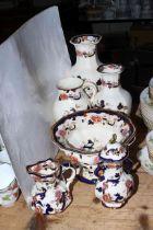 Six pieces of Masons Blue Mandalay and Ironstone Mandalay including tureen, vases.