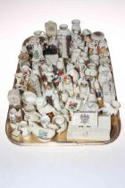 Collection of crested china including St. Paul's Cathedral, Gynn Inn, monuments and vases, etc.