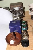 Pair of cloisonne vases, carved squirrel nut bowl, silver plate, Harley Davidson watch, etc.