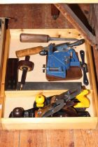 Tray of tools including lathe, chisel, planes, clamp, right angle.