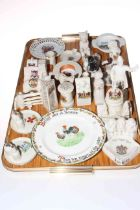 Collection of crested china including Wise Monkey ashtray, St. Paul's, animals, etc.