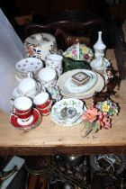 Victorian cheese dome, Beswick horse and foals, Coalport, Colclough floral teaware.