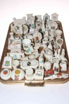 Collection of crested china including monuments, chairs, gramophones, etc.