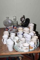 Collection of Imari plates, commemorative cups, glass, table clock, etc.
