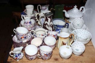 Collection of Victorian pottery including jugs, teaware, teapot, etc.