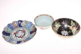 Lustre bird and floral decorated bowl, Imari design dish with six character mark to base,