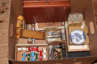 Box of collectables including cigar and coin boxes, model vehicles, two Mauchline Ware napkin rings,