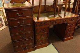 Mahogany seven drawer pedestal desk, 77cm high by 121cm wide by 61cm deep,