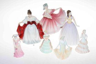 Three Royal Doulton ladies, Elaine, Sara and Happy Birthday, and four Coalport figures, Encore,