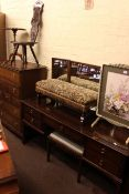 Stag Minstrel dressing table, chest and stool, sewing chair, tapestry footstool,