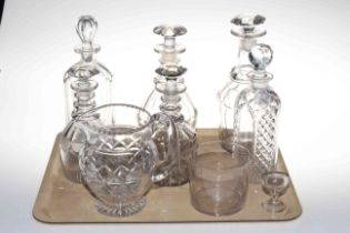 Six assorted glass decanters, water jug, eye wash and wine glass rinser.