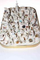Collection of crested china including vases, monuments, animals, etc.