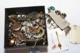 Box of collectables and jewellery including Waltham fob watch, aide memoire.