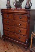 Victorian mahogany six drawer Scotch chest on turned legs, 138cm high by 120cm wide by 58cm deep.