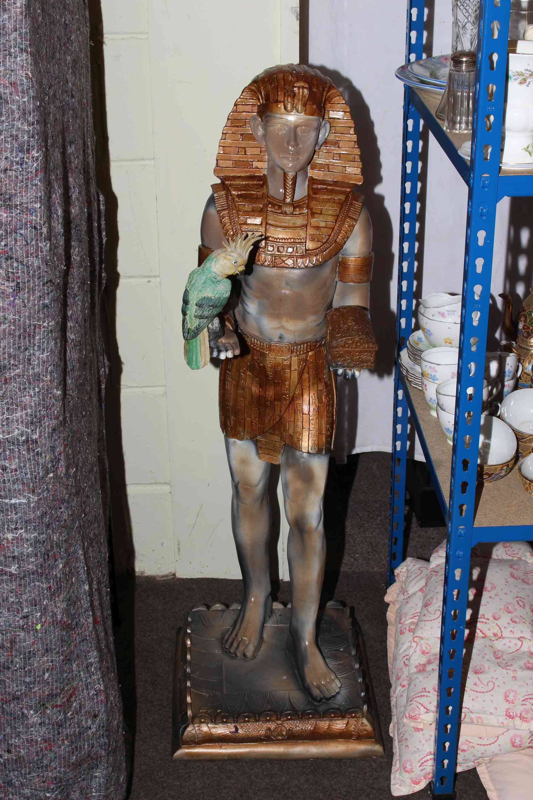 Egyptian plaster figure, Jack Sparrow figure, seated cat, planter and metal finial. - Image 2 of 2