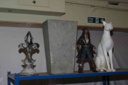 Egyptian plaster figure, Jack Sparrow figure, seated cat, planter and metal finial.
