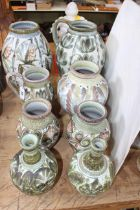 Eight Denby Glyn College including jugs and vases.