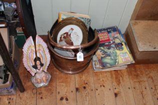Pair small oval needleworks, copper coal helmet, 1950's Practical Motorist magazines, scent bottle,