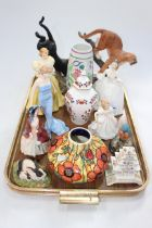 Tray lot with four Royal Doulton figures, two wildlife pieces, Poole vase, etc.