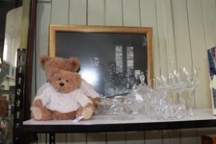 Two Fraser teddy bears, collection of crystal glassware and a print.