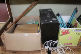 Boxed electric microscope with accessories,two angle poise lamps and cased Singer sewing machine.