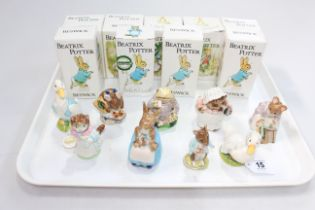 Collection of nine Beswick Beatrix Potter figures including Ribby & Appley Dapply, all with boxes.