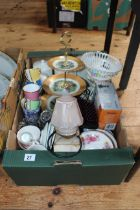 Box stool containing cutlery, watches etc, and box of china, glass, lamp, etc.