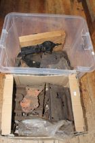 Two boxes of early metalware including locks, etc.