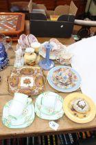 Aynsley Orchard Gold, Ruskin 1923 candle holder, Noritake two handled dish, teawares,