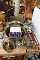 Collection of metalwares including 1915 Birmingham silver cased spoons, silver thimbles, jam pans,