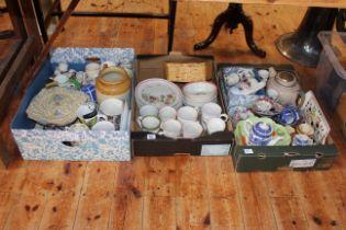 Three boxes of ceramics including Denby, Maling lustre, Stoneware jar, commemorative wares, etc.