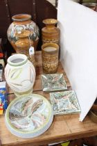 Eight pieces of Denby including vases and dishes, two Langley Ware vases, etc.