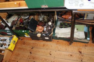 Six boxes of silver plate, cutlery, glass, china, Victorian writing box, walking canes, pictures,
