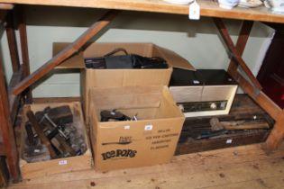 Collection of tools, radios, cameras, etc.
