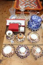 Collection of Royal Crown Derby including pot pourri, vase, cups and saucers, Losol biscuit jar,