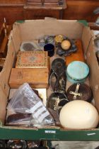 Box with ostrich egg, etc.