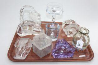 Glassware including Millefiori scent bottle, animal paperweights, etc (10).